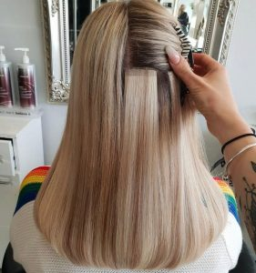 Tape hair extension example