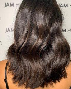 rich, glossy brunette hair